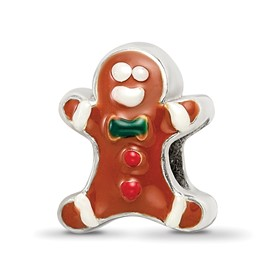 Reflection Beads Sterling Silver Enameled Gingerbread Man Bead