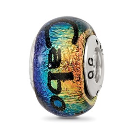 Sterling Silver Reflections Cabo Dichroic Glass Bead