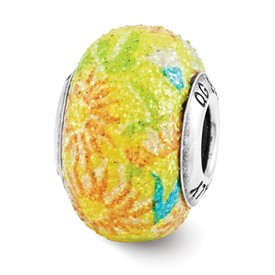 Sterling Silver Reflection Yellow Floral Overlay Bead