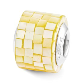 Reflection Beads Sterling Silver Yellow Mother of Pearl Mosaic Bead