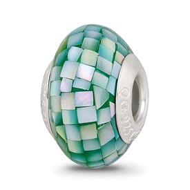 Reflection Beads Sterling Silver Green Mother of Pearl Mosaic Bead