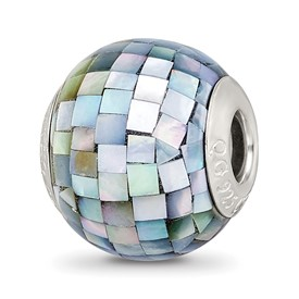 Reflection Beads Sterling Silver Black Mother of Pearl Mosaic Bead