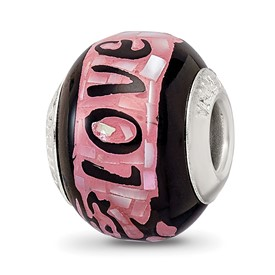 Black and Pink Mother of Pearl Mosaic Glass Love Bead