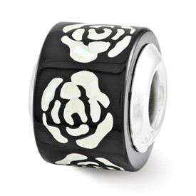 Reflection Beads Sterling Silver Black and White Mother of Pearl Mosaic Bead