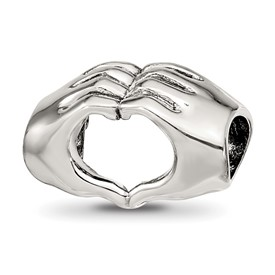 Sterling Silver Reflections Heart Hands Bead