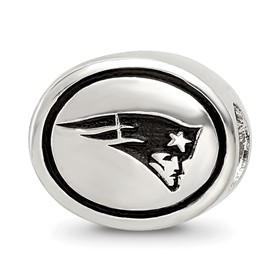 Sterling Silver Antiqued New England Patriots NFL Bead