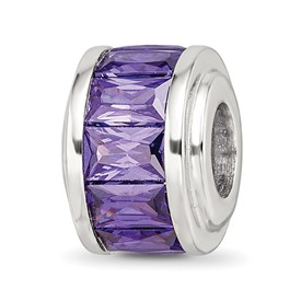Reflection Beads Sterling Silver Purple CZ Bead
