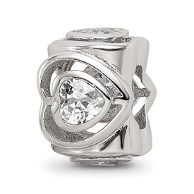 Sterling Silver Reflections Clear CZ Heart Bead