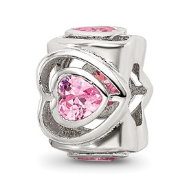 Sterling Silver Reflections Pink CZ Heart Bead