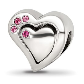 Reflection Beads Sterling Silver Pink Swarovski Chrystal Heart Bead