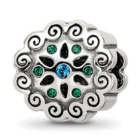 Blue Green Swarovski Crystal Sterling Silver Flower Bead