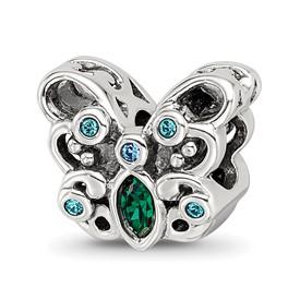 Blue Green Swarovski Crystal Sterling Silver Butterfly Bead