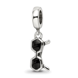 Sterling Silver Reflections Black Enamel Sunglasses Dangle Bead