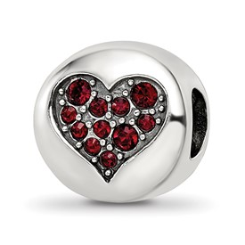 Red Swarovski Crystal Faith January Bead
