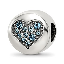 Sterling Silver Reflections Swarovski Crystal Mar-Courage Bead