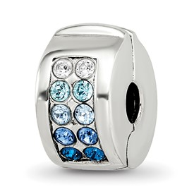 Reflection Beads Sterling Silver Swarovski Channel Blues Clip Bead