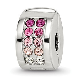 Sterling Silver Reflections Swarovski Channel Pinks Clip Bead