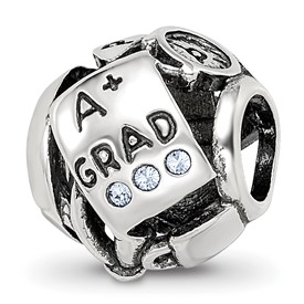 Reflection Beads Sterling Silver Swarovski Crystal Graduation Bead