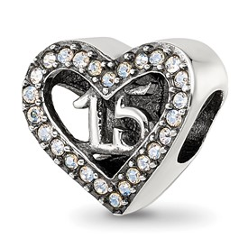 Reflection Beads Sterling Silver Swarovski Crystal Quinceanera Heart Bead