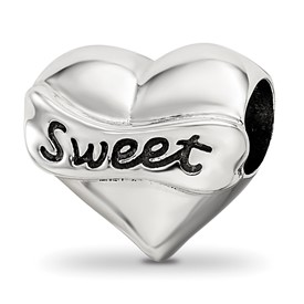 Reflection Beads Sterling Silver Swarovski Crystal Sweet 16 Heart Bead