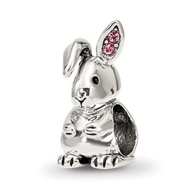 Reflection Beads Sterling Silver Swarovski Crystal Bunny Bead
