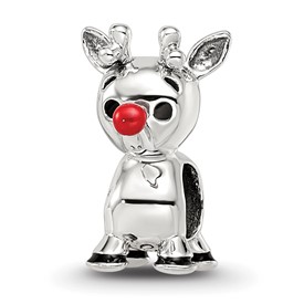 Reflection Beads Sterling Silver Red Enameled Rudolph Bead
