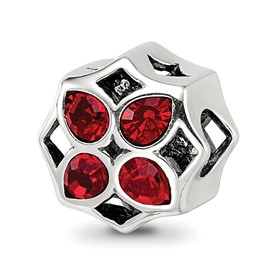 Reflection Beads Sterling Silver Lattice with Swarovski Crystal Flower Bead