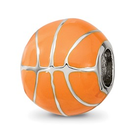 Reflection Beads Sterling Silver Orange Enameled Basketball Bead