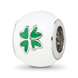Sterling Silver Reflections White and Green Enamel Clover Bead
