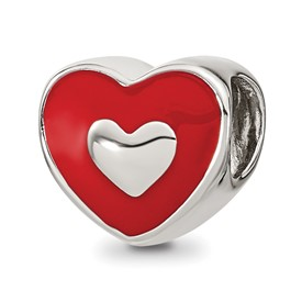 Sterling Silver Reflections Red Enamel LOVE and Heart Bead