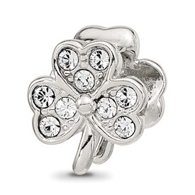 Sterling Silver Reflections Enameled Swarovski Crystal Shamrock Bead