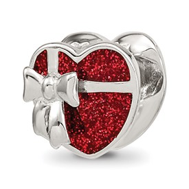 Reflection Beads Sterling Silver Red Enameled Heart Bead