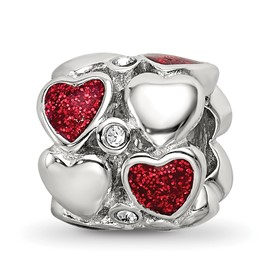 Sterling Silver Reflections Red Enamel Swarovski Crystal Hearts Bead