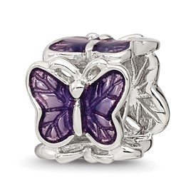 Reflection Beads Sterling Silver Purple Enameled Butterfly Bead