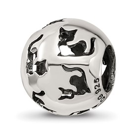 Sterling Silver Reflections Cutout Cat Bead