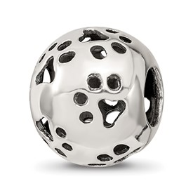 Reflection Beads Sterling Silver Paw Prints Bead