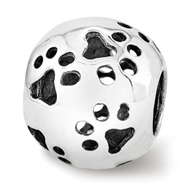 Sterling Silver Reflections Cutout Paw Prints Bead