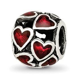 Reflection Beads Sterling Silver Red Enamel Filigree Heart Bead