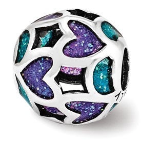 Teal Blue Purple Glitter Hearts Bead