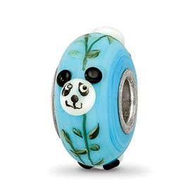 Ster.Silver Reflections Blue Hand Painted Panda Fenton Glass Bead