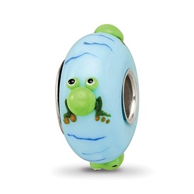 Blue Green Hand Painted Glass Frog Bead