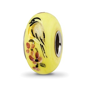 Ster.Silver Reflections Yellow Hand Painted Chickadees Fenton Glass Bead