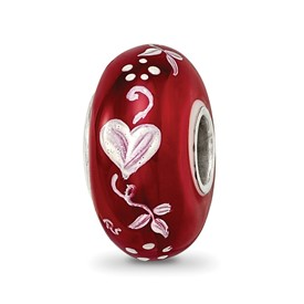 Ster.Silver Reflections Red Hand Painted Hearts Desire Fenton Glass Bead