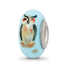 Ster.Silver Reflections Blue Hand Painted Wisdom Owl Fenton Glass Bead