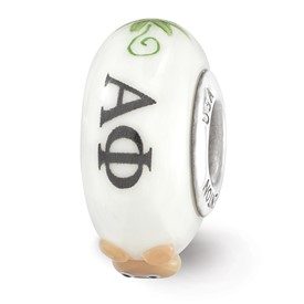 Ster.Silver Reflections White Hand Painted Alpha Phi Fenton Glass Bead