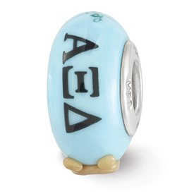 Ster.Silver Reflections Blue Hand Painted Alpha Xi Delta Fenton Glass Bead