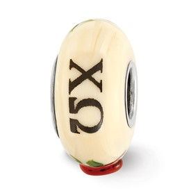 Ster.Silver Reflections Ivory Hand Painted Chi Omega Fenton Glass Bead