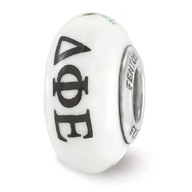Ster.Silver Reflections Hand Painted Delta Phi Epsilon Fenton Glass Bead