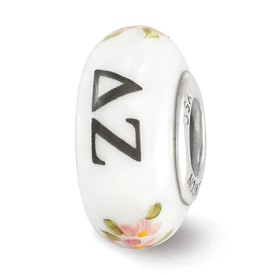Ster.Silver Reflections White Hand Painted Delta Zeta Fenton Glass Bead