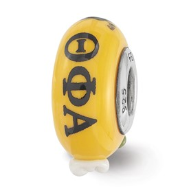 Ster.Silver Reflections Hand Painted Theta Phi Alpha Fenton Glass Bead